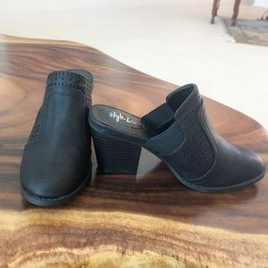 Style & Co. Joelynn Black Perforated Mules